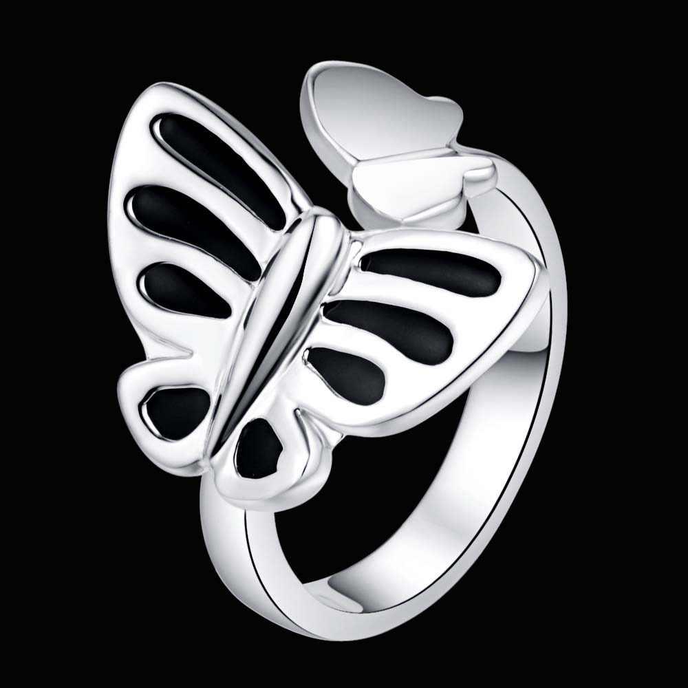 ปรับสีดำผีเสื้อขายส่งเงิน 925 แหวนแฟชั่นเครื่องประดับแหวนผู้หญิง/CETBRWLH JTAKUWVA