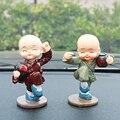 4 pçs/lote Drunken Master Quatro Pequeno Monge Carro Enfeites De Resina De Decoração Presentes Criativos Enfeites de Carro Chines Kung Fu Pequeno Monge