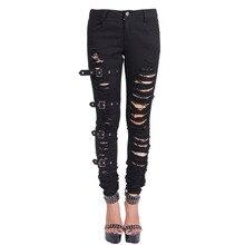Steampunk Women's Black Demin Pants Winter Gothic Punk High Waist Close Fitting Hole Long Trousers Rivet Jean Pants With Zipper