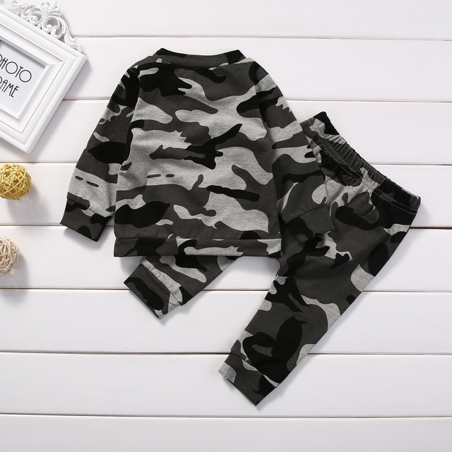 2pcs  new baby clothing set Toddler Infant Camouflage  Baby Boy Girl Clothes T-shirt Tops+Pants Outfits Set 2
