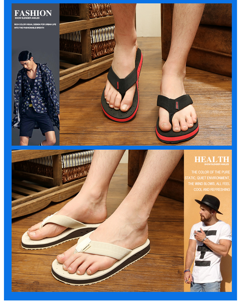 High quality Non-slip Big Size Flip Flops Men Summer Beach Slippers Men Brand Fashion Breathable Casual Men Slippers Black