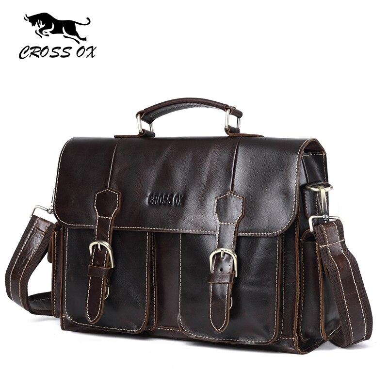 CROSS OX Mens Business Briefcase Vintage Handbag Genuine Leather Satchel Bag 14 Inch laptop Bag Shoulder Bag Gift For Men HB574M
