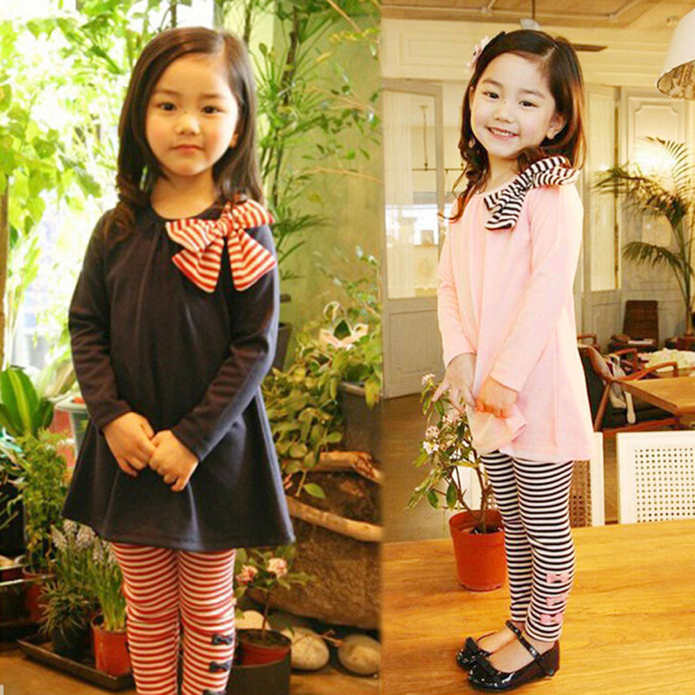 Newest Children Clothing Kids Clothes Long Sleeve Bowknot Stripe Navy Pink Dress T-Shirt+Stripe Pants Set Girl Clothes 2-8 Years