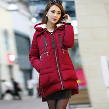 Women parka thick 2017 wadded jacket female winter jacket women outerwear slim jackets medium-long down cotton parkas red coats