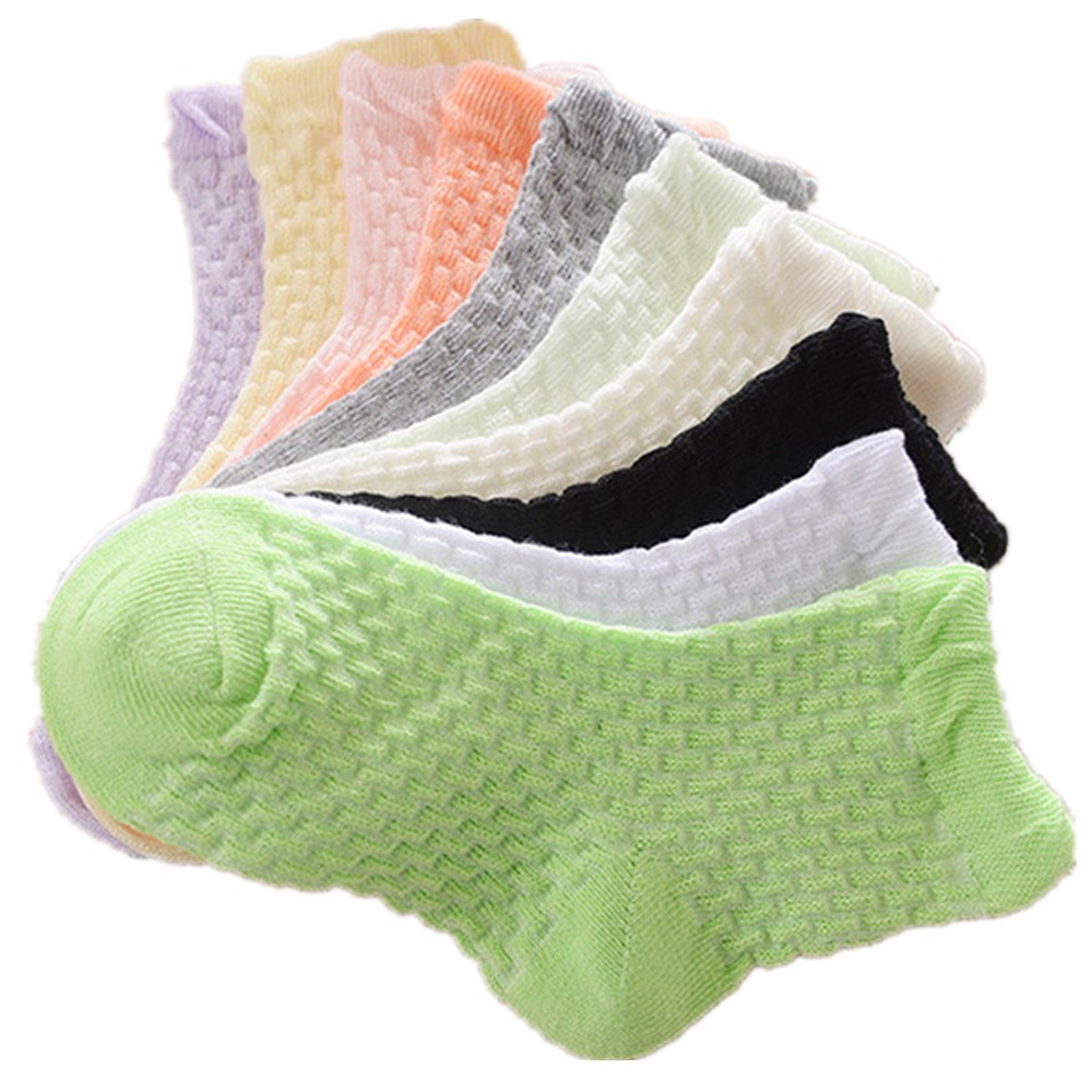 0-12 Years Children Socks 5 Pairs Breathable Baby Girls Hobby Sox Kids Anklets Boys Hose Pure Solid Socks For Girls Pure Solid 16