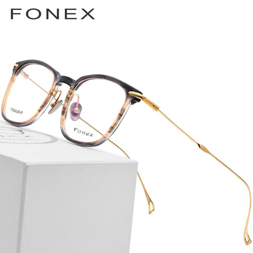 5bb856eb9f Pure B Titanium Acetate Optical Glasses Frame Men Myopia Prescription Eyeglasses  Women Ultralight Transparent Spectacles Eyewear