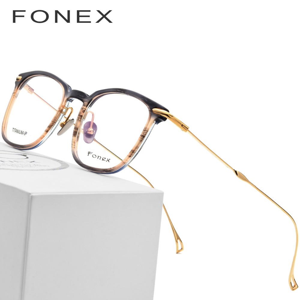 Чистый B Титан ацетатные оптические очки рамки для мужчин близорукость рецепт очки женщин Сверхлегкий прозрачные очки