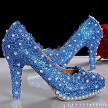 New Arrival Super-elevation princess pumps Beautiful blue lace Bridal wedding shoes party high heels Bridesmaid Shoes