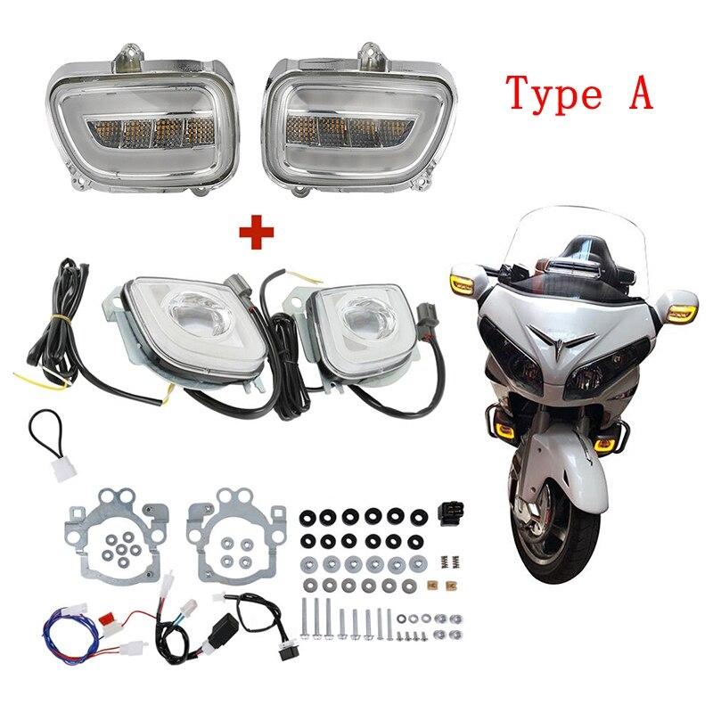 Moto Moto Anteriore Indicatori di Direzione Lampeggiante e di Direzione A LED Del Segnale di Guida Della Luce di Nebbia Per Honda Goldwing GL1800 12-17 f6B 2013-17
