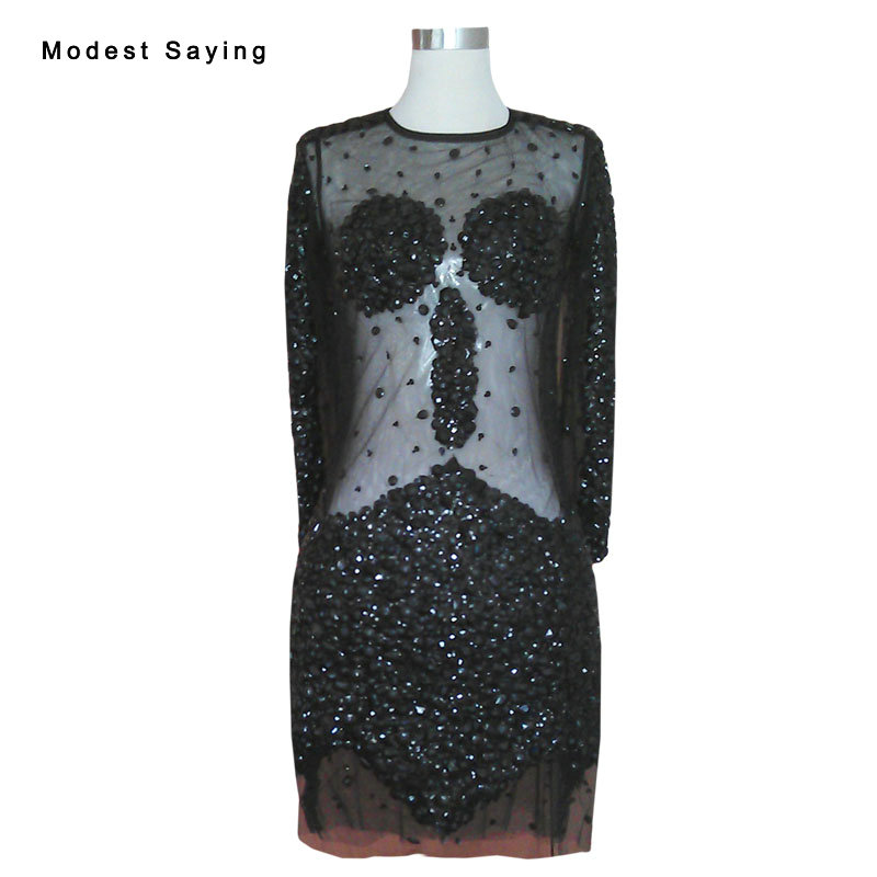 Luxury Sexy Sheer Black Straight Long Sleeve Beaded Party Cocktail Dresses 2017 Women Short Prom Gowns Robe De Cocktail YC55