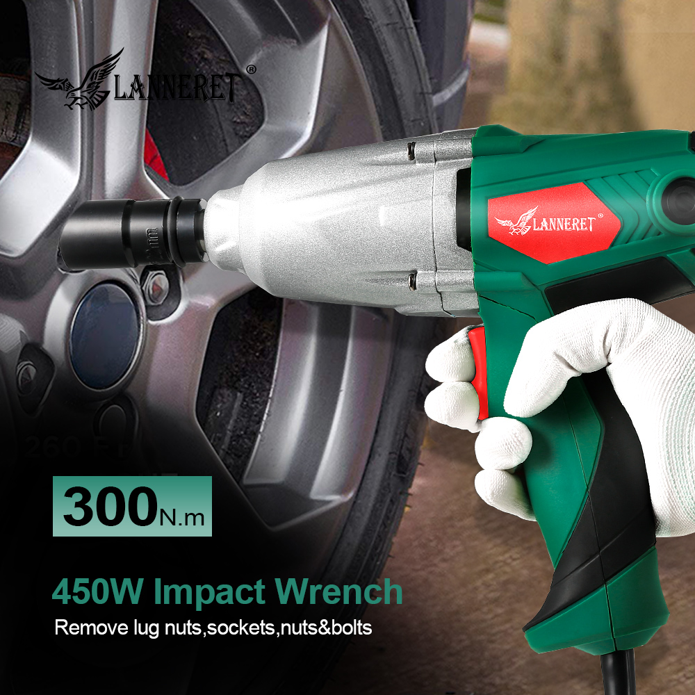 Image 5 - LANNERET 450W Electric Impact Wrench 300Nm Max Torque 1/2 inch Car Socket Electric Wrench Changing Tire Tool-in Electric Wrenches from Tools on