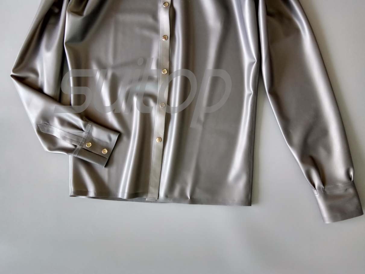 New Mens Latex Shirt Rubber Tops Males In Metallic Silver In Dress