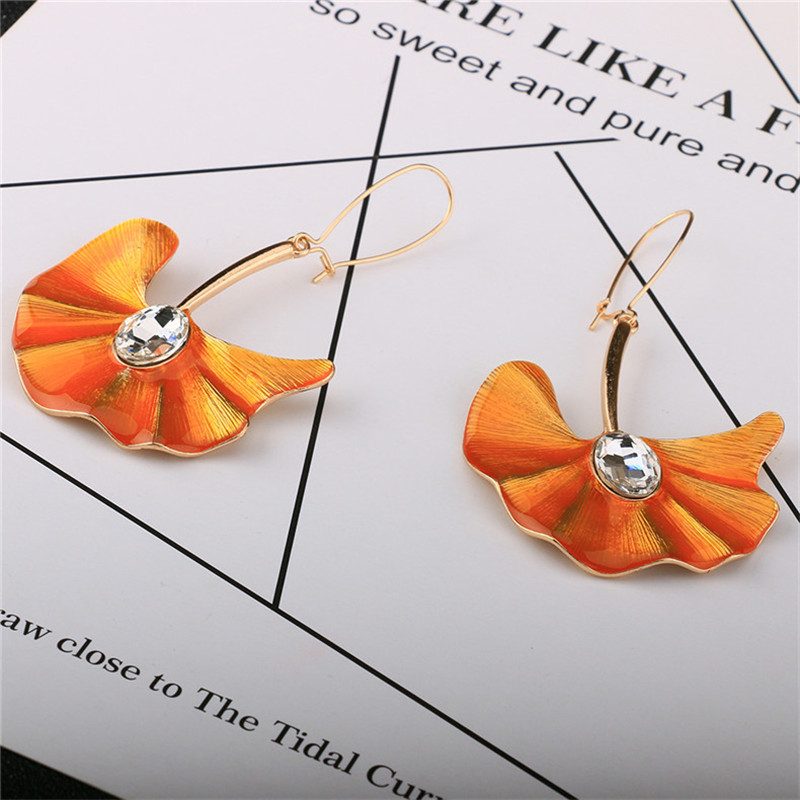 Original Handmade Exaggerated Orange Leaves Ginkgo Leaf Dangle Drop Earrings For Women Pendientes Female Fashion Jewelry Gift