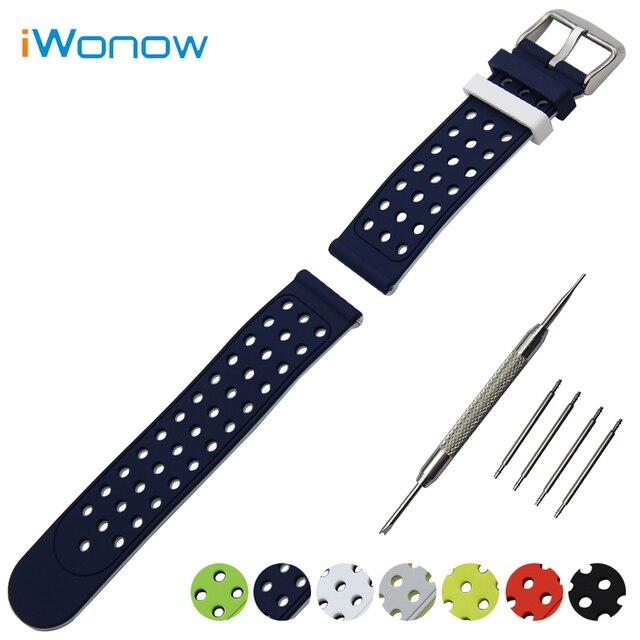 Borracha de silicone watch band 24mm para sony smartwatch 2 sw2 duplo lado Vestindo Cinta Correia de Pulso Pulseira + + Ferramenta de Barra de Mola