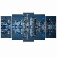 5 Panel Modern Canvas Poster Canvas Painting Picture Wall Picture City Night Art print Canvas Poster Wall Art Painting Home Deco