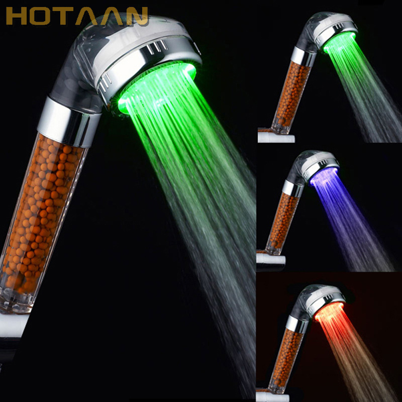 Free Shipping Led shower Tourmaline SPA Anion Hand Held Bathroom Led hand Shower Head Filter Hand Shower Pressurize Saving Water