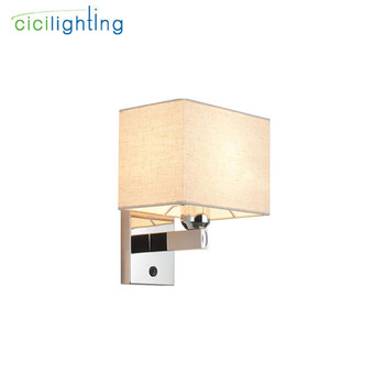 Bedroom bedside led reading wall lamp modern hotel room project wall light with switch new Chinese style beige fabric lampshade