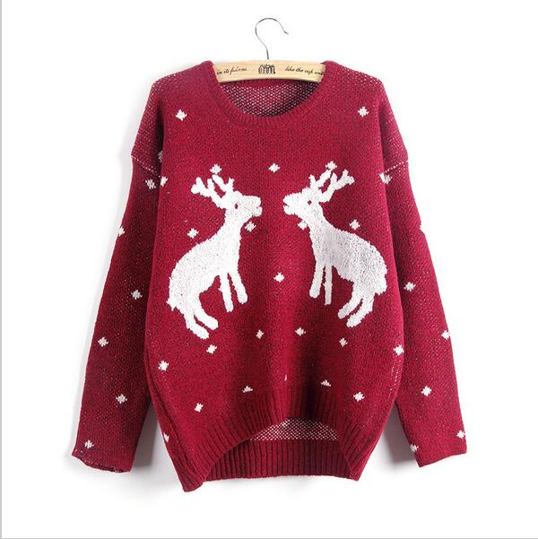 2017 New Winter Reindeer Christmas Sweater Women Female Deer ...