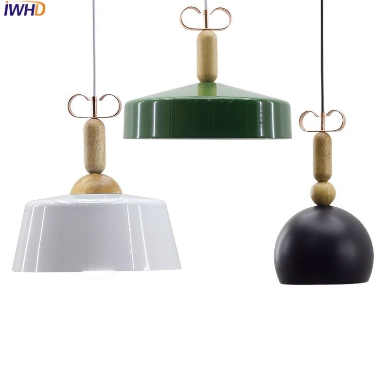 IWHD Fashion Pendant Lights Lamp Led  Pendanting Light Fixtures Fashion White Black Iron Creative Hanglamp Kitchen Lampara