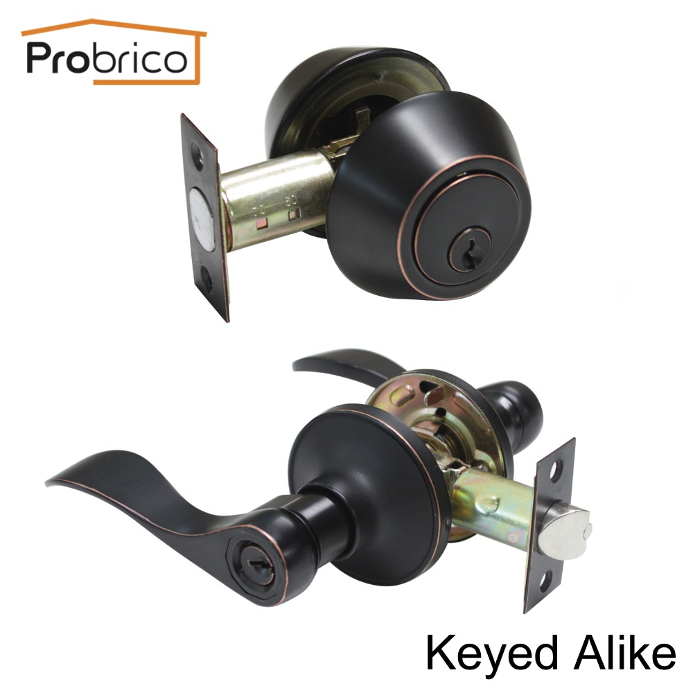 Probrico Stainless Steel Keyed Alike Entrance Door Lock With Two Sides Deadbolt Oil Rubbed Bronze Door Handle DL12061ET-102ORB