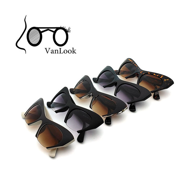 7fd031495eb24 Sunglasses Women Cat Eye Sun Glasses Cat-eyed For Lady Oculos De Sol  Feminino 100% Anti UV400 Gradient Grey Half-Rim Wholesale