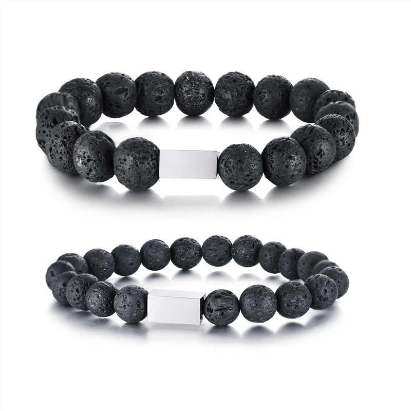 Vnox Black Natural Stone Beads Link Bracelet for Women Man Simple Stainless Steel Square Tag Pulseira Casual Jewelry