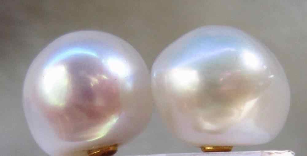 free shipping Hot Huge AAA 12-13 mm South Sea White Baroque Pearl Earrings 14k/20 YELLOW GOLD
