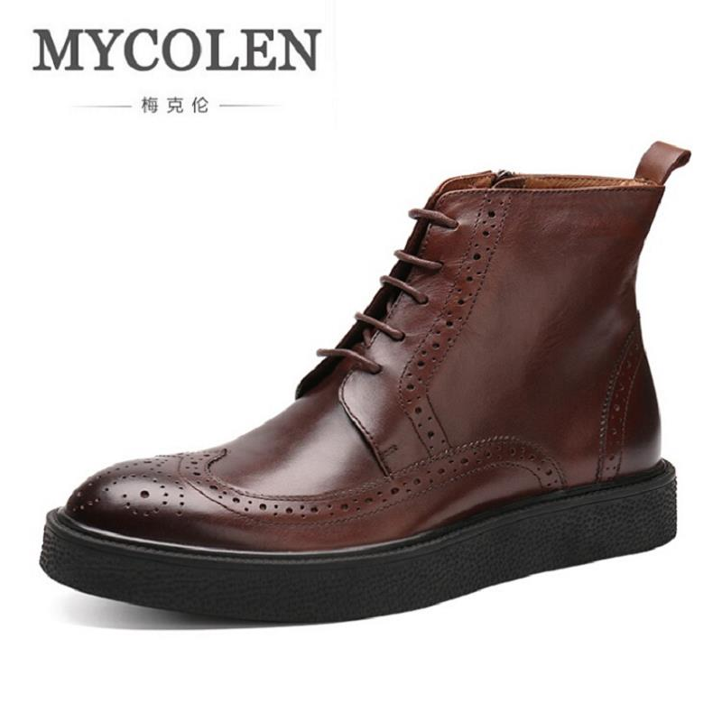MYCOLEN New British Style Men Boots Casual Shoes Male Work Thick Bottom Martin Boots Comfortable Lace Up Black Shoes Man martin new winter with thick british style short canister female fall side zipper boots