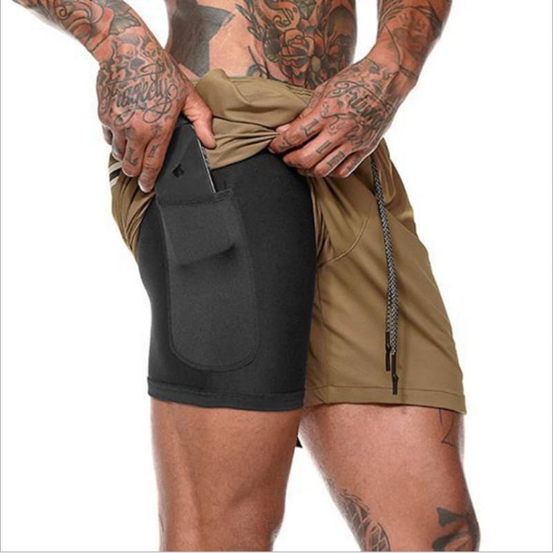 Mens Gym Shorts  Double Solid Color Shorts Run Jogging Sports Fitness Bodybuilding Sweatpants Training Fast Dry Jogging Pants