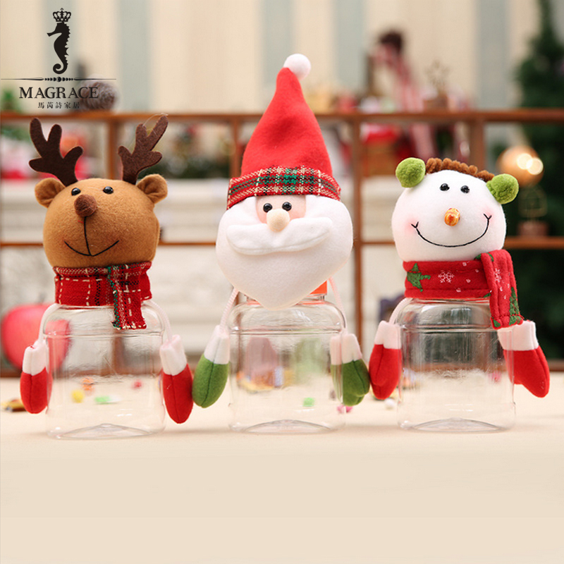 Christmas Snowman Plastic Candy Container Decorative Jars Holiday Decor Creative Xmas Santa Claus Elk Ornaments Baby Gifts In Storage Bottles