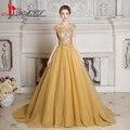 Robe De Soiree Prom Dress Vestido de Noite 2017 Novo Design de Luxo Contas de Ouro/Lantejoulas Top Myriam Puffy Sexy ver Através