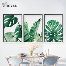 Tropical Bananas Leave Canvas Printed Painting Monstera Inkjet Watercolor Green Leaves Modern Posters And Prints Wall Decor