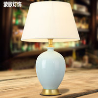 TUDA 2017 Ceramic Lamp Sitting Room Bedroom Study Table Lamp American Contracted Villas Full Copper Lamp