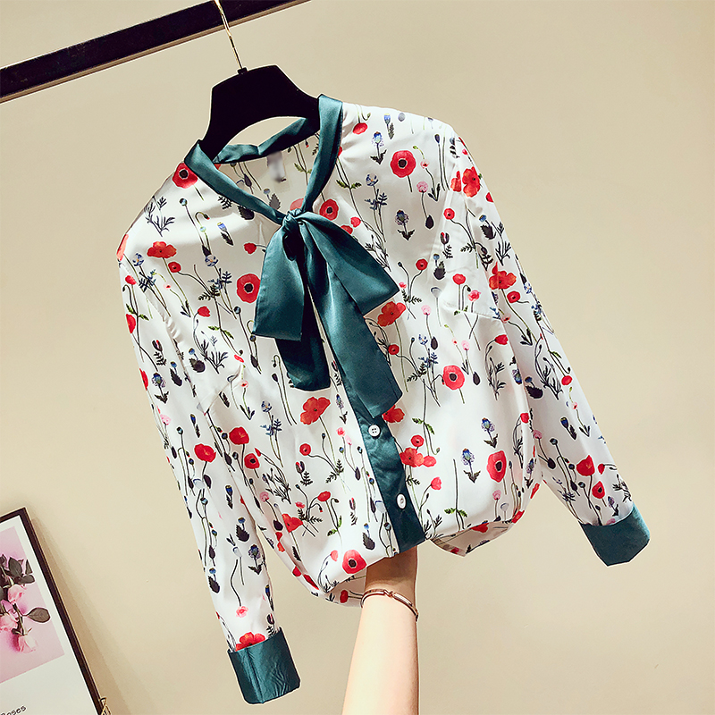 Back To Search Resultswomen's Clothing Mumuzi Flower Print Shirt 2019 Spring New Slim Chiffon Blouse Womens Fake Silk Shirt Satin Bow Bandage Long-sleeved Shirts Tops