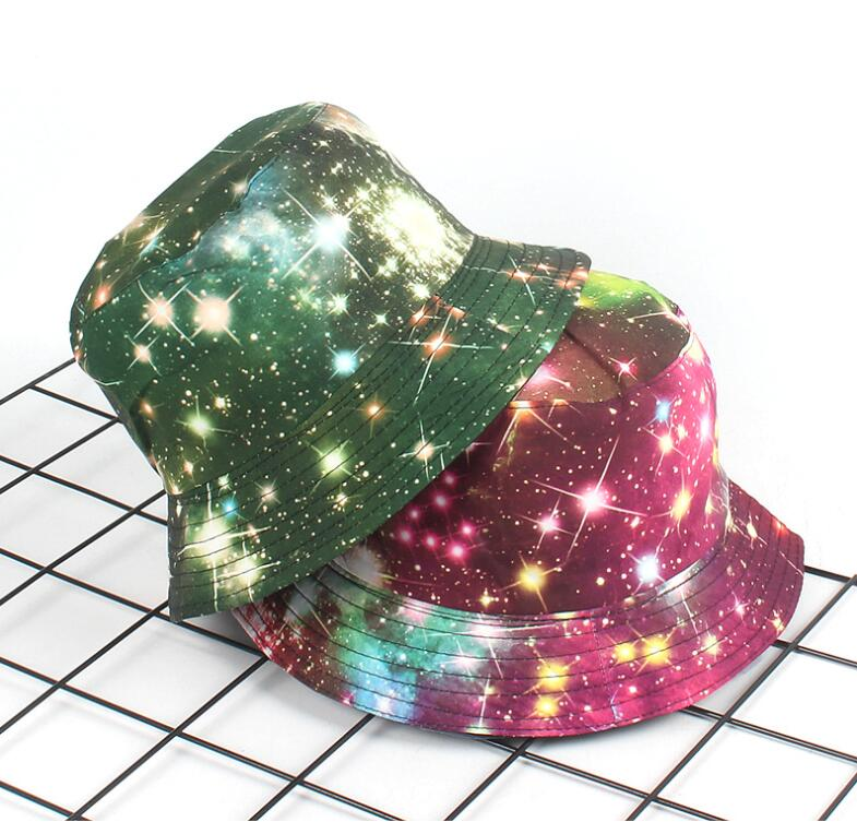 2019 Outer Space Stars Bucket Hat Unisex Printed Bob Caps Hip Hop Gorros Men Summer Panama Caps Beach Sun Fishing Bucket Hat