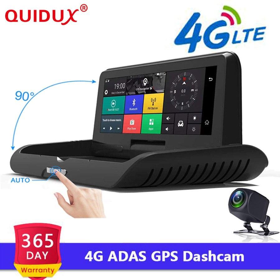 QUIDUX 8.0 ''Auto 4G ADAS voiture DVR Dash Cam FHD 1080 P caméra de recul double lentille enregistrement voiture DVR enregistreur GPS rétroviseur