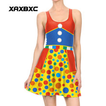 Xaxbxc 1005 модная летняя сексуальная девушка платье с коротким и широким подолом Хэллоуин горошек Джокер Косплэй принты эластичный жилет Для женщин плиссированное платье