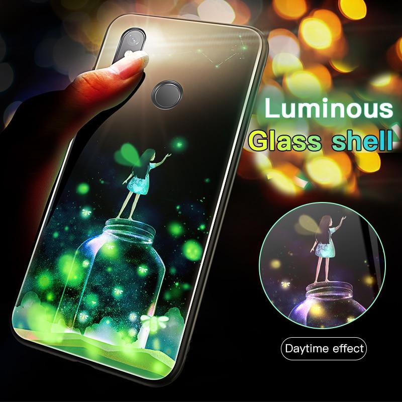 Moonlight Girl Luminous Glass Phone Case For Xiaomi Mi 8 9 SE Lite Redmi Note 4X 5 6 7 8 Pro Plus Luxury Starry Sky Cover Coque