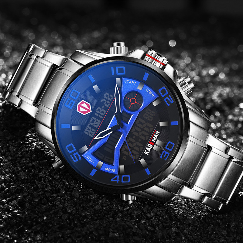 Casual Sports Men Watch 2019 NEW Luxury Full Steel Waterproof LED Digital Watch TOP Brand Dual Display Automatic Date Wristwatch in Quartz Watches from Watches