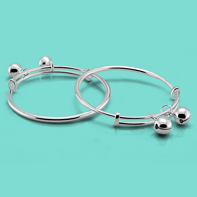 Chinese style 925 sterling silver bracelet baby silver jewelry simple bell pendant design solid silver children bracelet bijoux