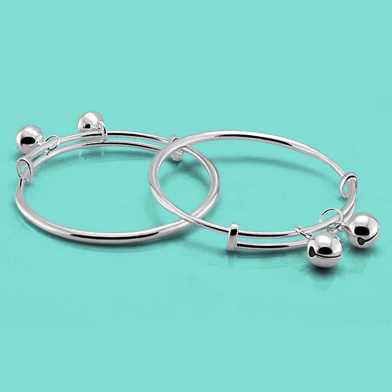 ddcc977894c6a Chinese style 925 sterling silver bracelet baby silver jewelry simple bell  pendant design solid silver children bracelet bijoux