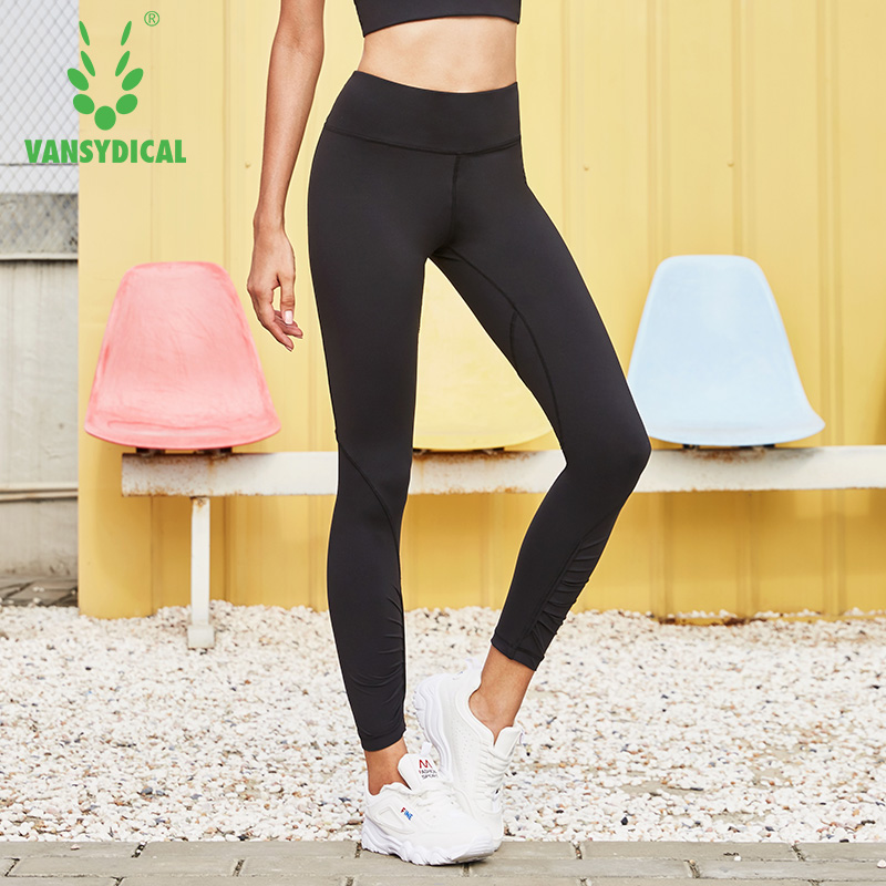 300cf713a8 Vansydical High-waist Gym Yoga Pants Women's Compression Running Tights  Breathable Quick Dry Fitness Jogging Sports Leggings