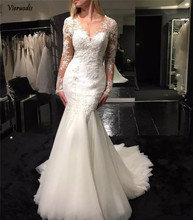 New Arrival Tulle Wedding Dress 2019 Mermaid Appliqued Lace Long Sleeve V-neck Bridal Gown