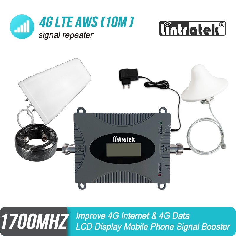 MINI 4G 1700 MHz Cellular Signal Booster B4 AWS 1700/2100 Repeater LTE Data Amplifier LPD Antenna+Ceiling Antenna+10m Kit #39