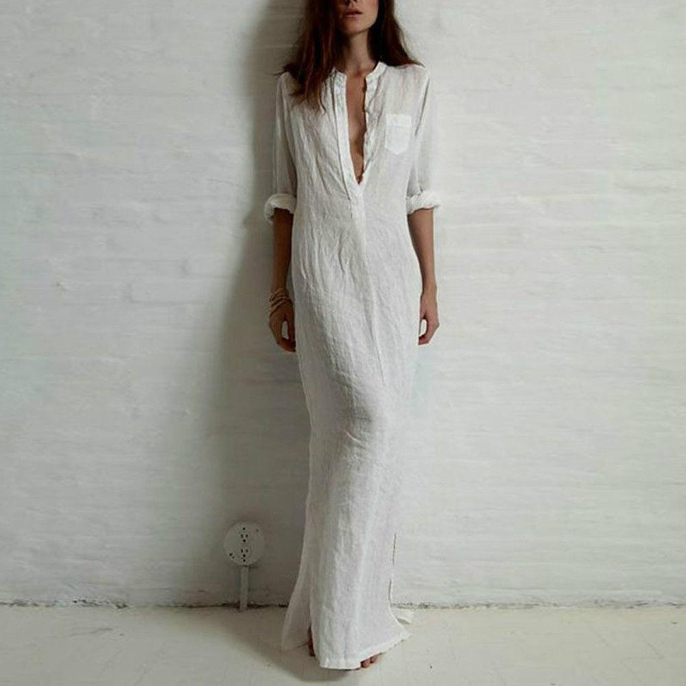 White Linen Dresses for Women