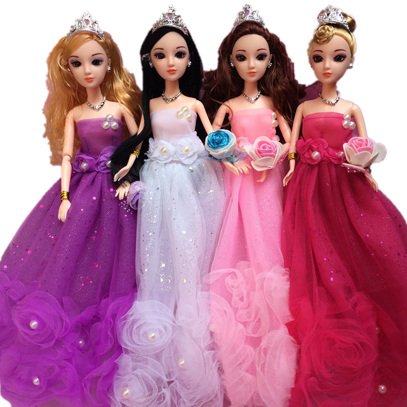 Free Shipping 11inches 30cm 12joints BJD ABS Wedding Dress Fashion Girl Dolls Bubles Yilia Angle Maria Evening Dress Doll Gift