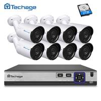 Techage H 265 8CH NVR Kit POE CCTV System 8PCS 4MP IP Camera P2P Onvif IP66