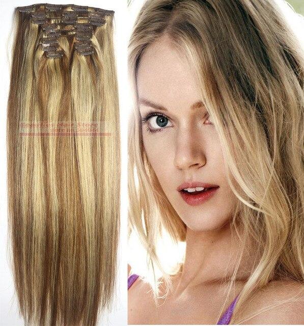 """O envio gratuito de 18 """"-28"""" Deluxe Grosso 12 pcs set 260g 100% clips em/no humano remy extensões de cabelo #8-613 cor da mistura"""