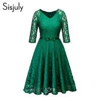 Женское вечернее платье в стиле ретро, готический, черный, темно-синий, зеленый, цветочное кружевное платье с бантом, лентой, поясом, весенне-...