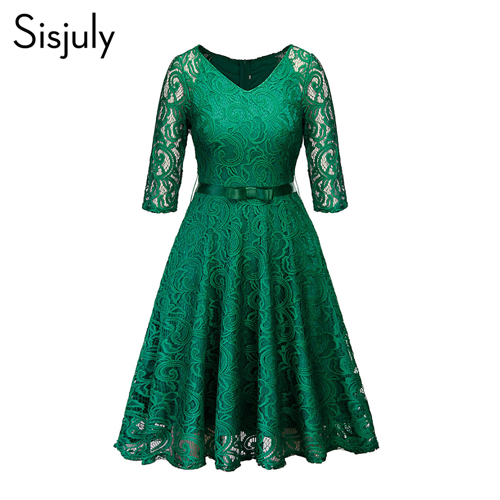 Sisjuly Women Evening Party Retro Black Blue Green Hollow Out Floral Lace Dress Bow Ribbon Belt Spring Fall Winter Work Dresses